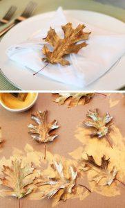 decorazione fai da te con foglie dipinte d'oro