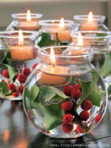 Centrotavola con tavola e candele galleggianti