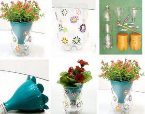 bottiglie di plastica come vaso verticale da parete