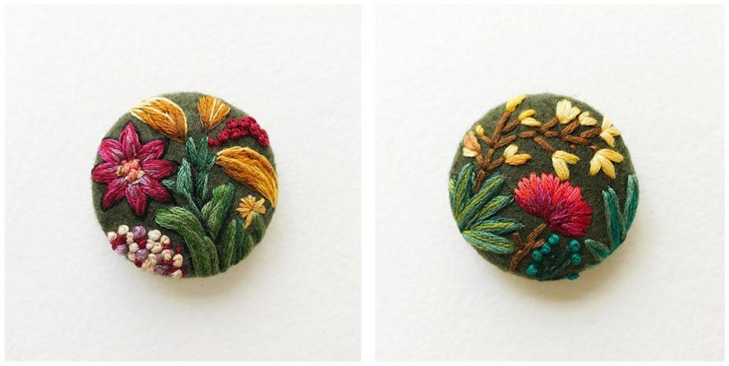 Bottoni in feltro con fiori 11