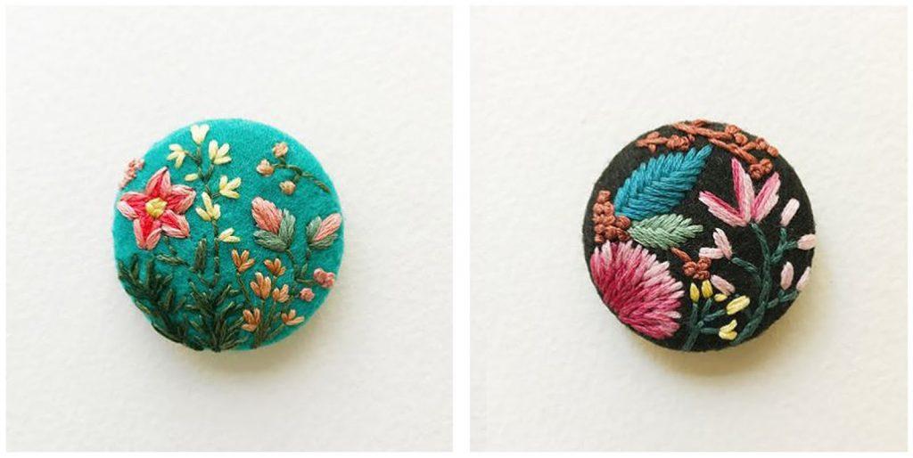 Bottoni in feltro con fiori 17