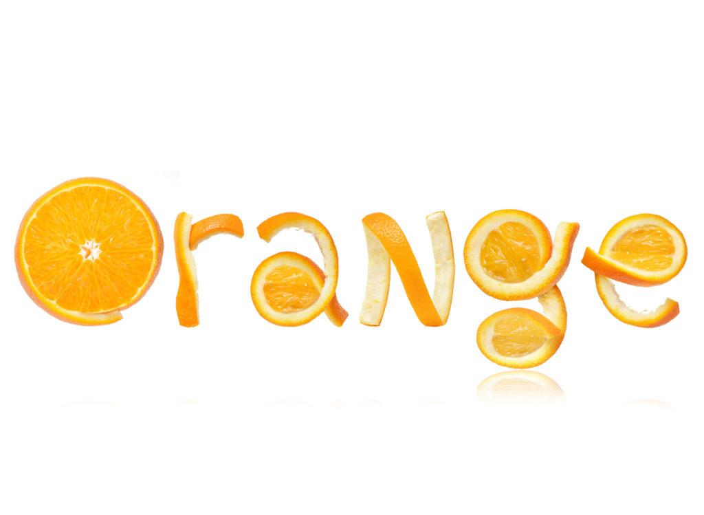 Parola creata con buccia d'arancia